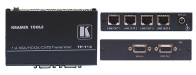 Kramer TP-114 1:4 RGBHV/HDTV to twisted pair distribution amplifier product image