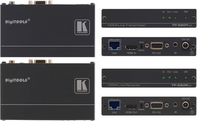 Kramer TP-580TXR/RXR 1:1 HDBaseT HDMI/RS-232/IR over extended range Twisted Pair Extender Kit product image