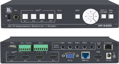 Kramer VP-440X 5:1x2 4K60 4:4:4 Presentation Switcher/Scaler with HDBaseT & HDMI Simultaneous Outputs product image
