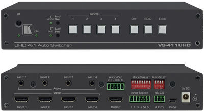 Kramer VS-411UHD 4:1 4K 60Hz 4:2:0 HDMI Auto Switcher with separate stereo audio switching product image