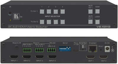 Kramer VS-42H2 4x2 4K HDMI HDR Matrix Switcher with audio de-embed product image