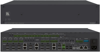 Kramer VS-88UT 8x8 4K60 4:2:0 HDMI/HDBaseT 2.0 Matrix Switcher and Master Room Controller with PoE & Power Amplifier product image
