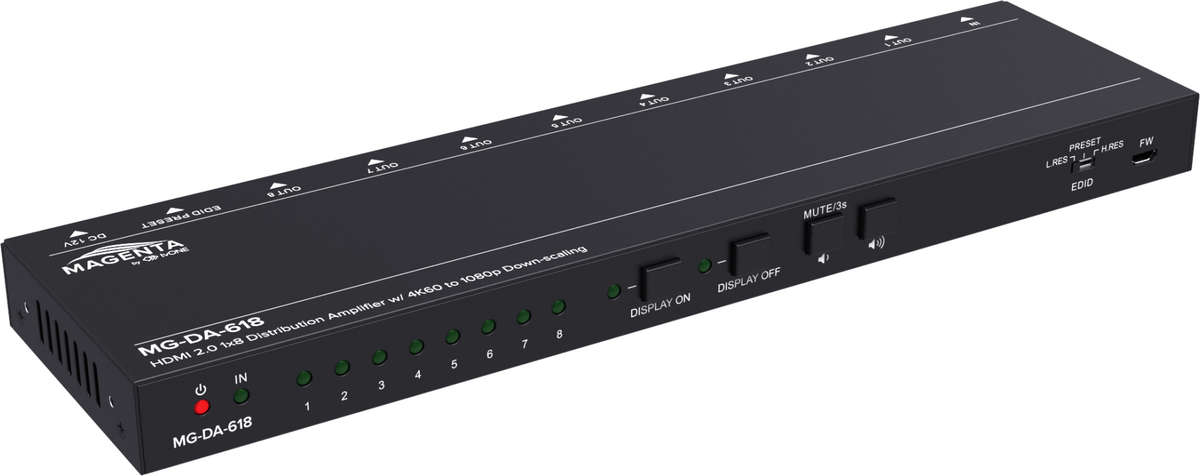 Magenta Research MG-DA-618 1:8 HDMI 2.0 Distribution Amplifier and Down Scaler product image