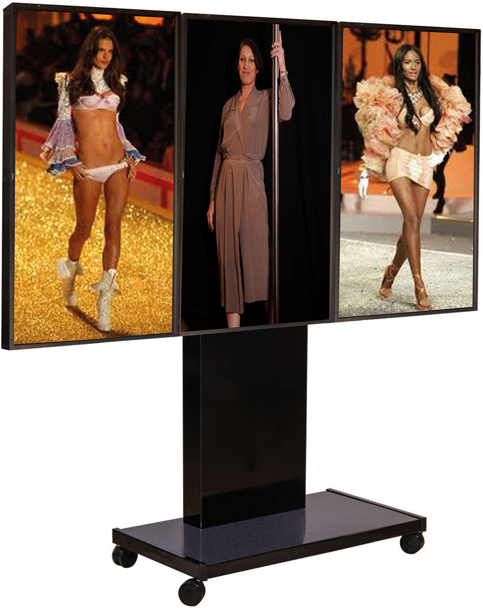 Unicol RH300P Rhobus premium trolley for triple large format displays up to 70 inches in portrait mode product image