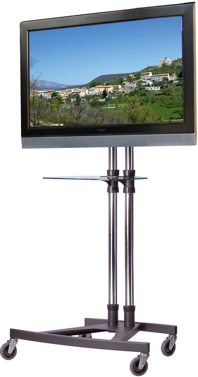 Unicol VS1000 E Trolley Height adjustable monitor trolley with shelf product image